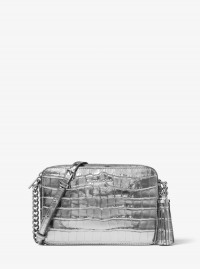 Michael Kors Ginny Metallic Embossed-Leather Crossbody